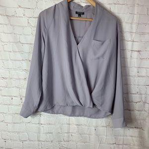 Topshop Purple Long Sleeve Blouse Size 6